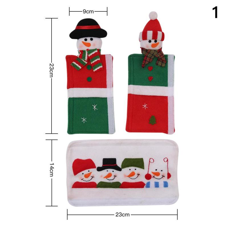 3 Pcs Refrigerator Handle Cover Christmas Decoration