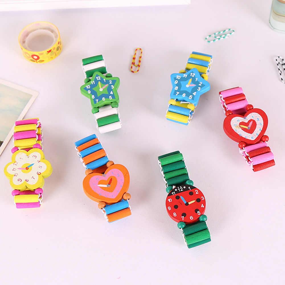 Pulsera de dibujos animados papelería estudiante Babys relojes de pulsera reloj de madera artesanías niños