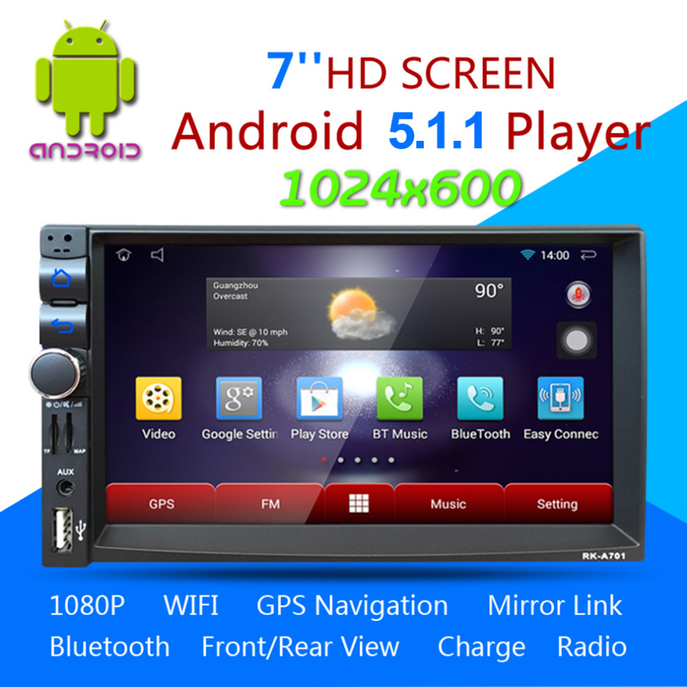 Car DVD GPS Player 1028 * 600 Capacitive HD Touch Screen Radio Stereo 8G / 16G iNAND Rear View Camera Parking Android 5.1.1 joyous 8 hd capacitive android 4 2 stereo car dvd player w gps navi for vw passat seat skoda