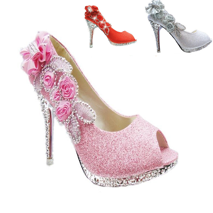 Women Sexy Gold & Silver & Pink Appliques flowers Peep Toe ...