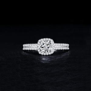 Image 2 - JewelryPalace 1ct CZ Halo Engagement Ring 925 Sterling Silver Rings for Women Anniversary Ring Wedding Rings Silver 925 Jewelry