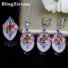 BlingZircons Bohemia Estética Colorful Cubic Zirconia Necklace Earring Ring Sets CZ Sterling 925 Joyería de Plata Para Las Mujeres JS012