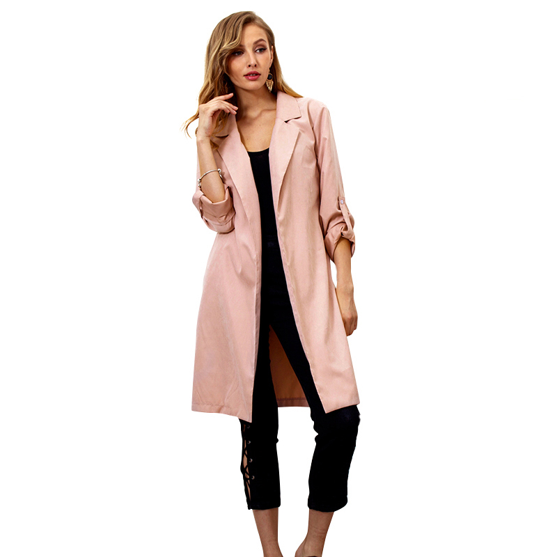 Elegant Ladies   Trench   Coat Women 2019 Winter Autumn Coat Long Sleeves Notched Collar Waist Belt Warm Fashion Long Outerwear Tops