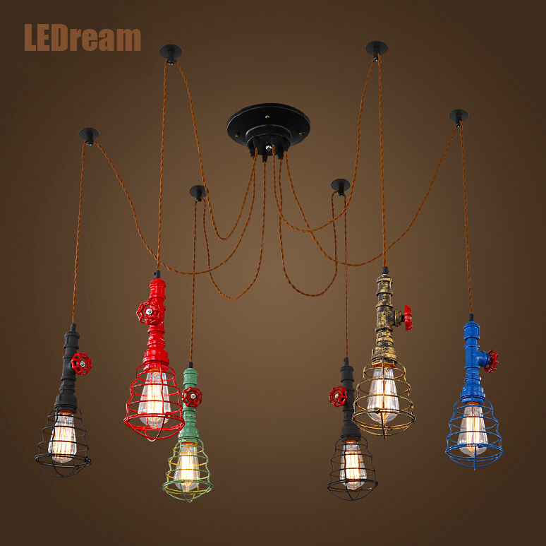 Creative personality, wrought iron loft industrial wind American meals sitting room single head bar counter pipe droplight european restaurant bar counter personality single head droplight creative crystal glass chimney droplight sitting room