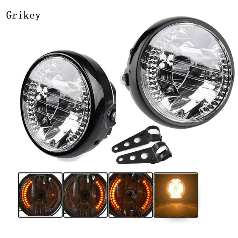7 Motorcycle Halogen Headlight Lamp Harley Turn Signal Light For KAWASAKI Dyna Honda Yamaha Chopper Cafe Racer Bobber Bracket motorcycle phone holder zipper pocket handlebar bracket mount universal for harley honda kawasaki yamaha cruiser chopper bobber