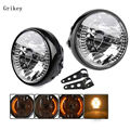 "7"" Motorcycle Halogen Headlight Lamp Harley Turn Signal Light For KAWASAKI Dyna Honda Yamaha  Chopper Cafe Racer Bobber Bracket"