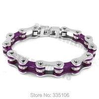 Free Shipping Bling Motorcycle Bracelet Stainless Steel Jewelry Fashion Purple Biker Bracelet SJB0152
