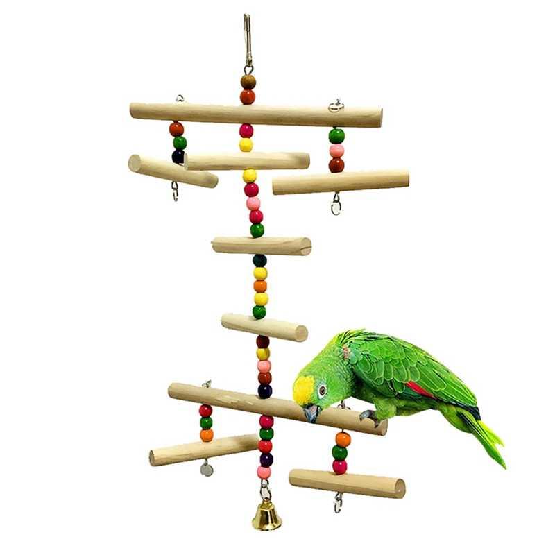 خشبية قفص العصافير اكسسوارات الحيوانات الأليفة الببغاء اللعب معلقة أرجوحة أرجوحة أرجوحة اللعب ل Parakeet بوغي كوكاتيل لعبة طيور