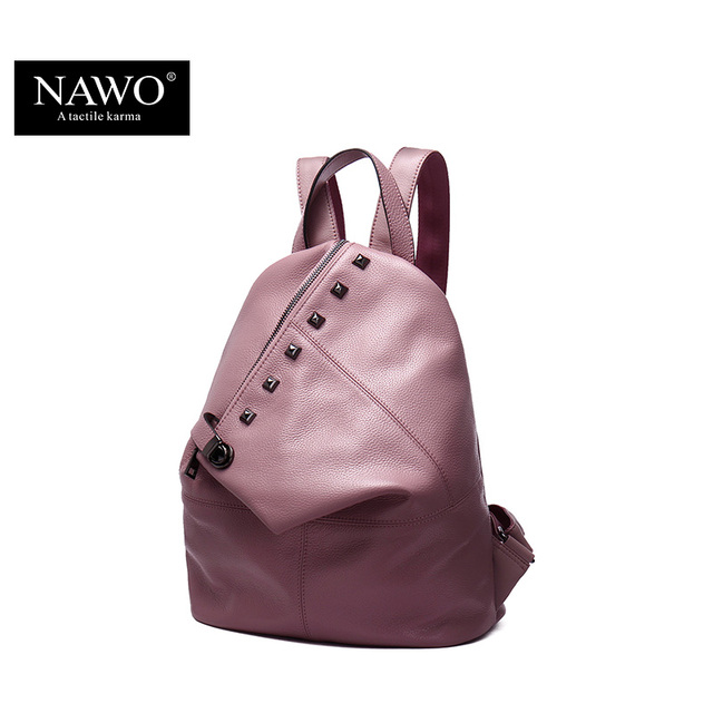 NAWO Fashion Genuine Leather Backpack Rivet Women Bags Preppy Style Backpack Girls School Bags Zipper Large Women's Back Pack