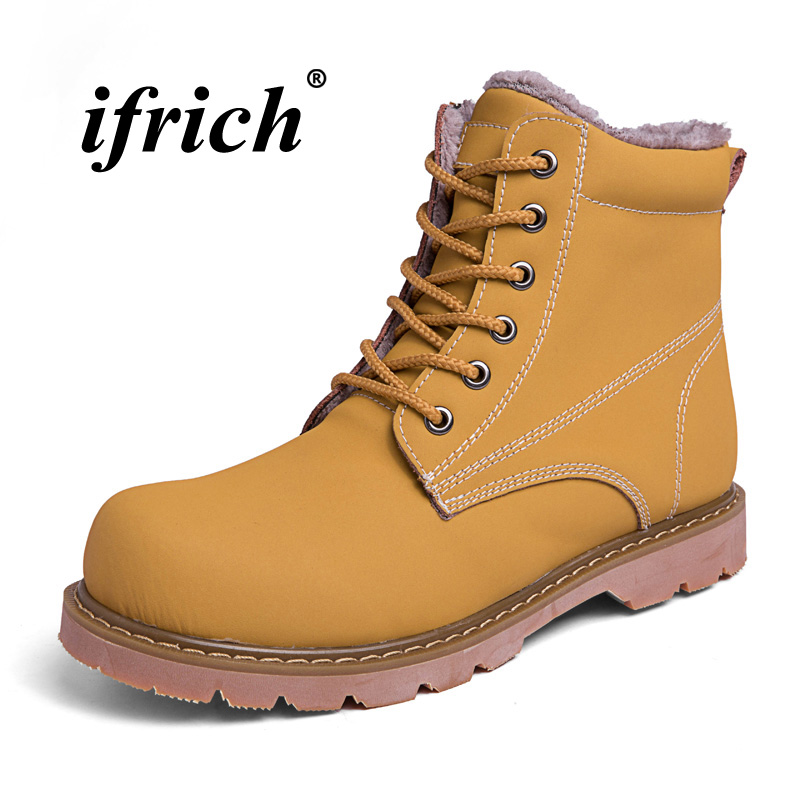 Winter Fur Working Safety Boots Fashion Casual Boots Male Yellow/black Ankle Snow Boots For Men High Top Marten Shoes Size 38-45 лонгслив printio dixie rebel kappa page 7
