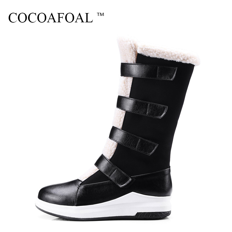 COCOAFOAL Women Black Wedges Mid Calf Snow Boots Winter Plus Size 33 43 Flat With Snow Boots Sexy Platform Round Toe Snow Boots platform bowkont flocking snow boots page 6