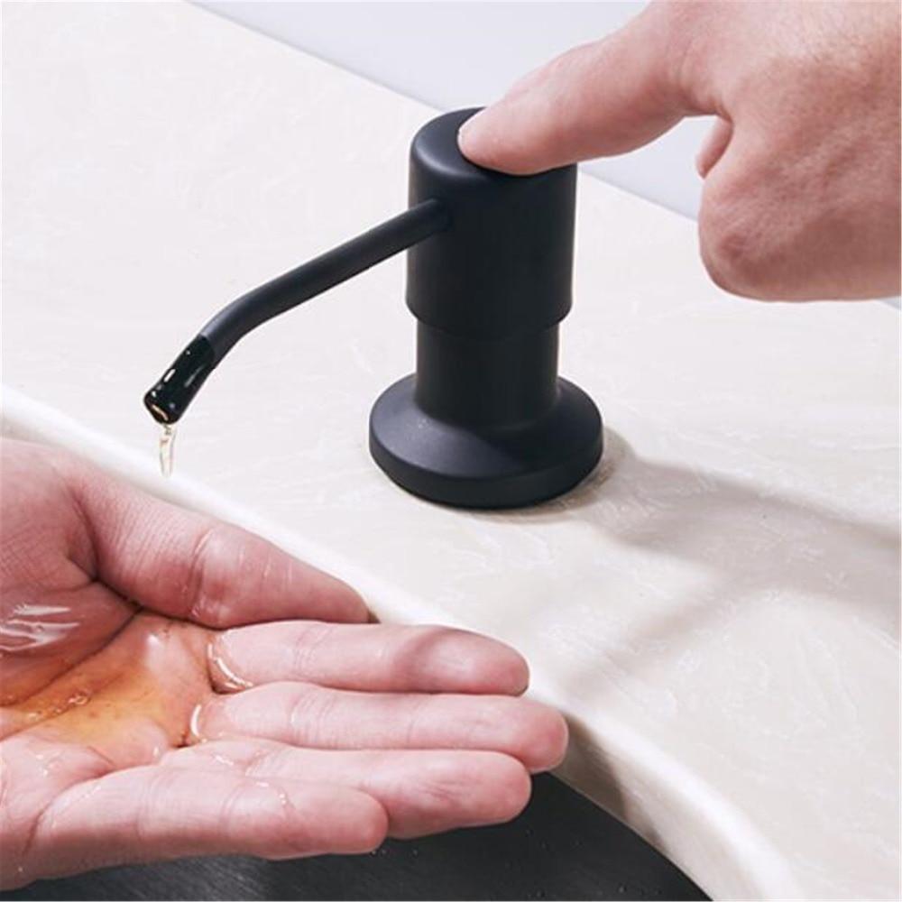 Cheaper Promotion Kitchen Soap Dispenser Plastic Bottle Sink Crystal Double Sabun Chrome Black Stainless Steel Liquid Dispensers Hand Abs Easy To