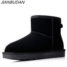 цена на JIANBUDAN Australia style Women Snow Boots Cowhide leather Winter Ankle Boots Warm shoes Flat female plush fur boots size 35-40