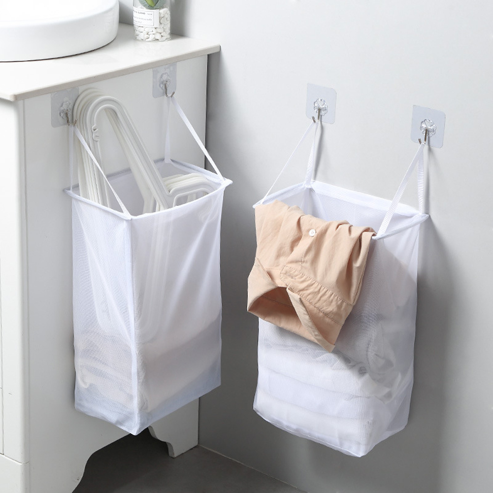 Laundry Basket Hamper Multifunctional Punch Free Home Wall Hanging Storage Washing Clothes Foldable Adhesive Hook Organizer Mesh