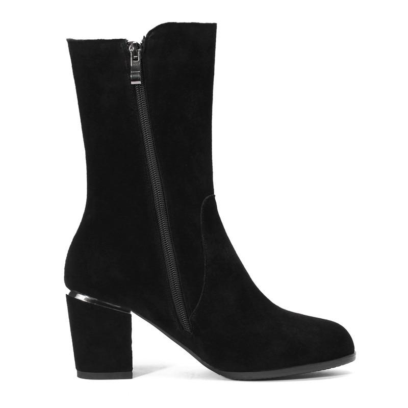 Size34 39 Punta Moda Zapatos Gruesos Tacón Cr1133 Black Causal Mujeres Cremallera Alto Enmayer Mediados Mujer Botas Tacones De Ternero wXOx40I6q