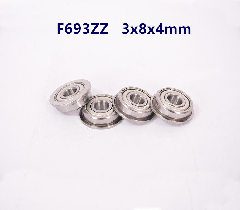 50pcs/100pcs Flanged Bearing  F693ZZ F693 -2Z 3x8x4 Miniature Flange Deep Groove Ball Bearings F693Z 3*8*4 Mm