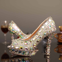 Luxury 2016 New Style Glitter Crystal Peep Toe Bridal Wedding Dress font b Shoes b font