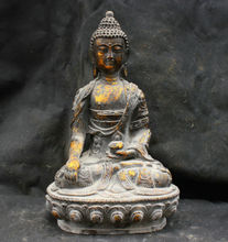Chinese Fengshui Old Antique Copper Brass Statue Shakyamuni Buddha Sculpture