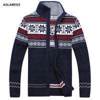 Aolamegs Men Sweater Autumn Winter Wool Cardigan Jacket Men S Fashion Casual Jacquard Sweater Coat Christmas