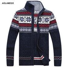 Aolamegs Homens Camisola de Lã Outono Inverno Moda Casual Jacquard dos homens Casaco Cardigan Casaco Camisola De Malha De Natal Desgaste Hombre