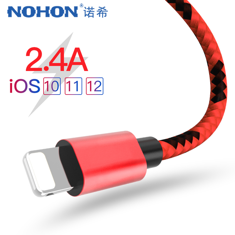 NOHON Nylon Charge Data Cable For Apple iPhone X 7 6 8 5 Plus XR XS MAX For iPad Air 2 IOS 9 10 11 Phone Charging Sync Cables 1M máy xay sinh tố của đức