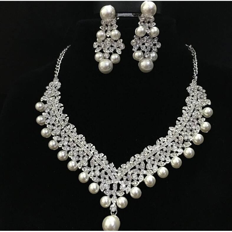 Fashion Pearl Wedding Bridal Jewelry Sets For Bride Women Pageant Prom Bijoux Necklace Earring Wedding Jewelry Accessories 1