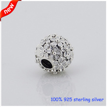 Fits Pandora Bracelets Daisy Clips Silver Beads with White Enamel New 100% 925 Sterling Silver Charms DIY Jewelry Wholesale