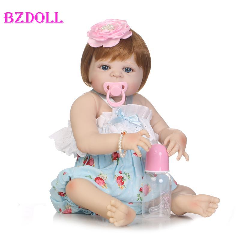 55cm Full Body Silicone Reborn Sweet Girl Baby Doll Toys Newborn Princess Toddler Babies Doll Birthday Gift Child Bathe Toy Play55cm Full Body Silicone Reborn Sweet Girl Baby Doll Toys Newborn Princess Toddler Babies Doll Birthday Gift Child Bathe Toy Play