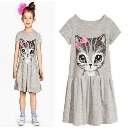 1182b5054 Princess Girls Dress 2017 New Fashion summer Cat Print Children Long ...
