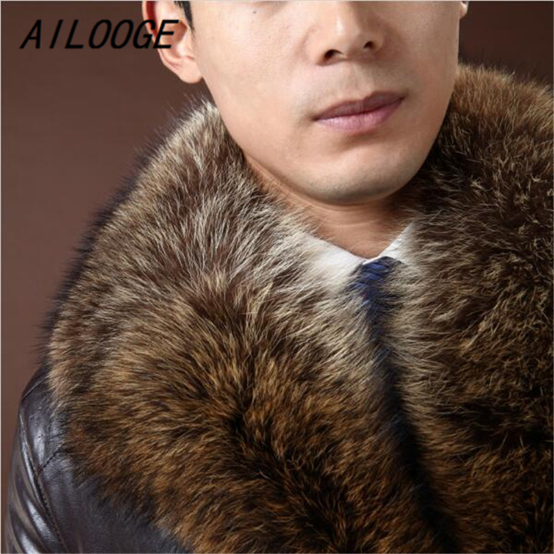 AILOOGE 2017 Brand Mens Fur Coat Shearling Genuine Leather Raccoon Fur Sheep Skin American Raccoon Fur AILOOGE 2017 Brand Mens Fur Coat Shearling Genuine Leather Raccoon Fur Sheep Skin American Raccoon Fur Mens Business Coat Warm
