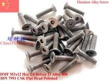 цена на Titanium Alloy screw M3X12 for Mini Drones DIN 7991 Flat Head Hex 2.0 Driver Polished 12 pcs