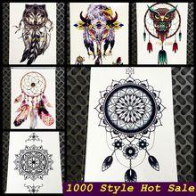 Black Women Henna Temporary Tattoo Stickers GQS-C003 Large Dream Catcher Indian Sun Flower Dreamcatcher Sexy Arm Shoulder Tattoo