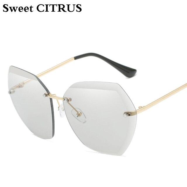 fc0785d339 Sweet CITRUS Luxury Brand Fashion Rimless Sunglasses Women Metal Cutting  Clear Lens Sun Glasses Vintage Female