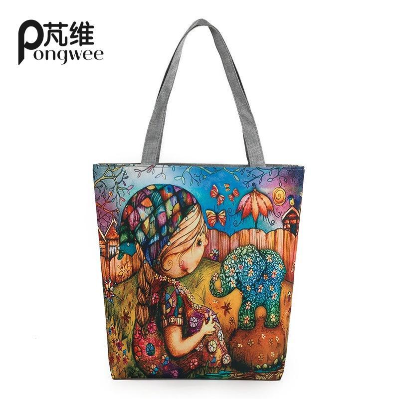 PONGWEE 2018 Brand Designer Canvas Shopping Bag Zipper Large Capacity Tote ECO Single Shoulder Waterproof Nylon Bag