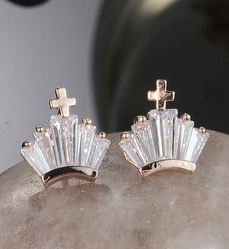 Fashion Classic Small Charm Crossing Tiara Platinum Rose Gold Austrian Crystal Stud Earring For Women / Girl Fashion Jewelry