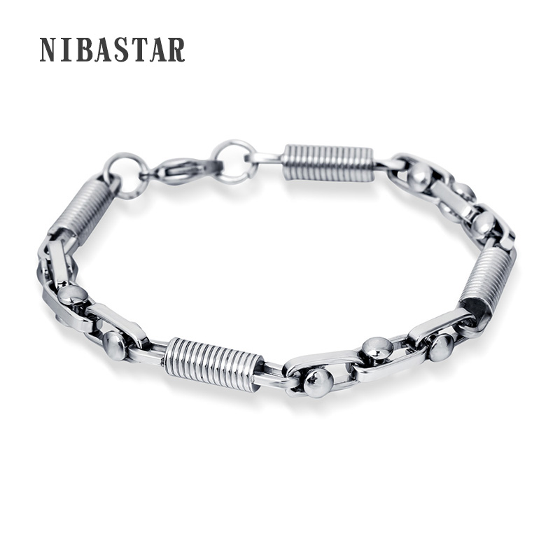 Fashion New Link Chain Stainless Steel Bracelet Men Heavy 6.5MM Wide Mens Bracelets 2017 Bicycle Chain Wristband