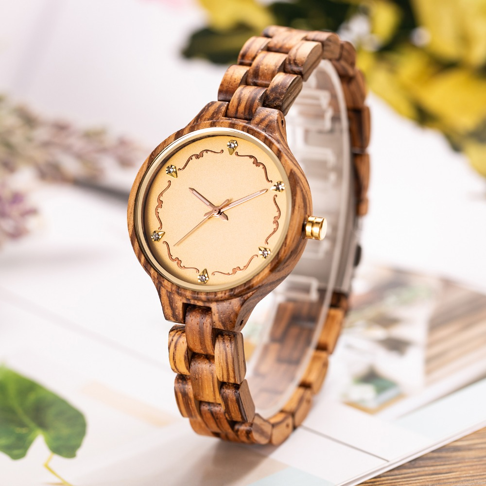 купить Luxury Natural Wood Watch Women Quartz Watches Ladies Top Brand Crystal Luxury Female Wooden Wrist Watch Clock Relogio Feminino по цене 2266.36 рублей
