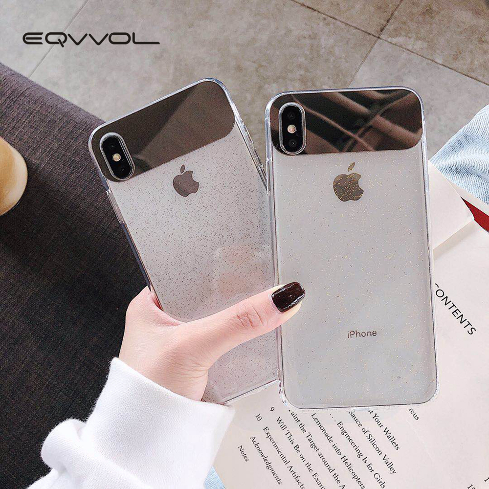 Eqvvol New Glitter Transparent Case For iPhone 7 8 Plus 6 6s Soft TPU Mirror Cases For iPhone X XS MAX XR Ultra Thin Cover Coque-in Fitted Cases from Cellphones & Telecommunications