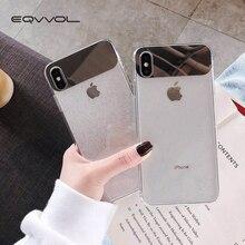 Eqvvol Nouveau Paillettes Transparent étui pour iphone 7 8 Plus 6 6 s TPU Miroir étuis pour iphone X XS MAX XR Couverture Ultra Mince Coque