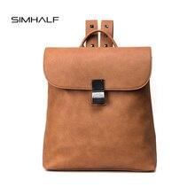 SIMHALF 2017 Моды Кожа рюкзак женщины сумку кожа винтаж Корейский сплошной цвет мягкая сторона путешествия рюкзак Щедрый достойное мешок