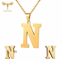 HOT Girl Jewelry Set 26 Letter Necklace Earrings Sets Children Gifts Gold Stainless Steel Jewelry Set Child bijoux