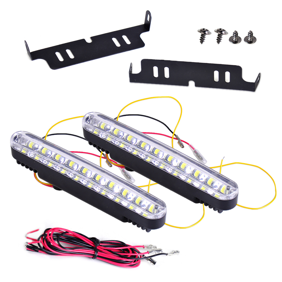 beler 2x 30 LED Car 12V Daytime Running Light DRL Driving Lamp White Amber Turn Signal Lights Fog Lamp Bright Strip Universal
