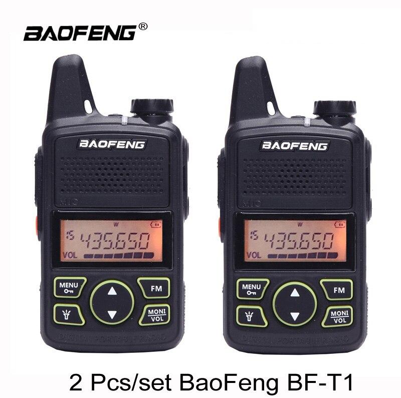 2 pcs BAOFENG T1 MINI Two Way Radio BF-T1 Talkie Walkie UHF 400-470 mhz 20CH Portable Jambon FM CB Radio Émetteur-Récepteur De Poche