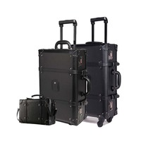 Retro Rolling Luggage Set Spinner Women Trolley case 24inch travel Suitcase set Wheels 20 inch PU Vintage Cabin Travel Bag Trunk