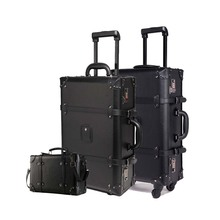 цены Retro Rolling Luggage Set Spinner Women Trolley case 24inch travel Suitcase set Wheels 20 inch PU Vintage Cabin Travel Bag Trunk