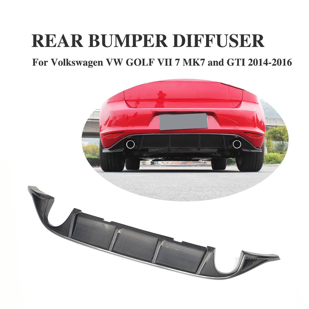 Carbon Fiber Rear Bumper Lip Diffuser Spoiler For Volkswagen VW GOLF 7 VII MK7 Standard And GTI 2004-2016 Dual Exhuast for vw golf gti 7 vii mk7 2014 2015 red lens led rear bumper reflector light lamp