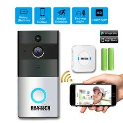 DAYTECH Drahtlose WiFi Video Türklingel Kamera IP Ring Tür glocke Zwei Weg Audio APP Steuer iOS Android Batterie Powered Karte option