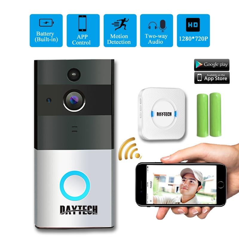 LA Journée Sans Fil WiFi caméra vidéo pour SONNETTE IP anneau Sonnette Deux Voies Audio APP contrôle iOS Android Batterie Alimenté Carte Option