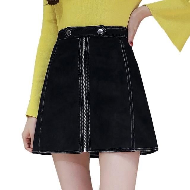 jupes suède zipper 2017 d'hiver vintage Un mini femmes automne en haute de ligne wxxanqY6Z