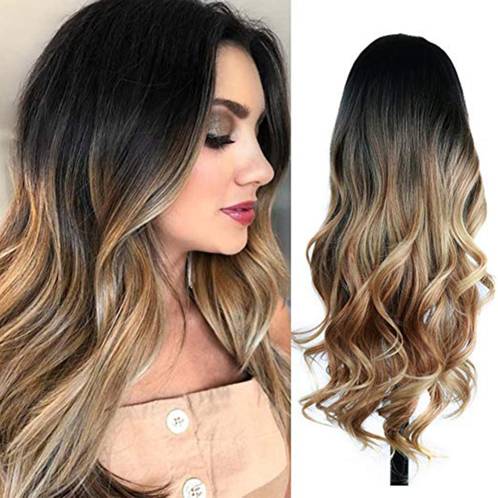 Peluca larga ondulada HANNE Ombre marrón Rubio/gris alta densidad resistente al calor Peluca de pelo sintético para negro/blanco mujer Cosplay/fiesta